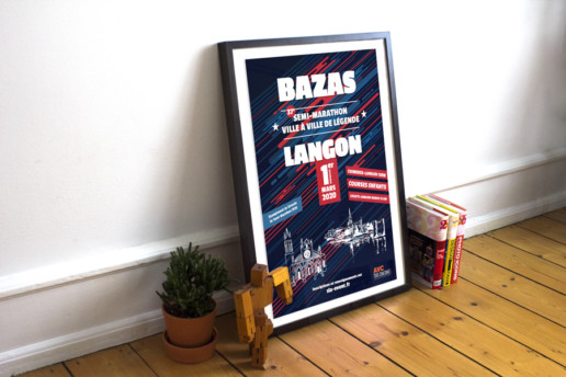 Affiche club athletisme Langon Bazas 2020